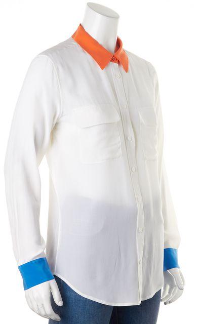 EQUIPMENT White Cobalt Orange Silk Colorblock Button Down Shirt Blouse