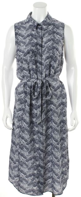 EQUIPMENT Ultra Marine Blue Silk Floral Waist Tie Tegan Shirt Dress