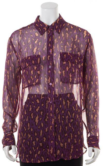 EQUIPMENT Purple Beige Sheer Silk Leopard Printed Button Down Blouse Top