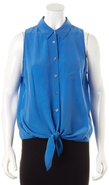EQUIPMENT Bright Blue Crepe Silk Tie Crop Button Down Shirt