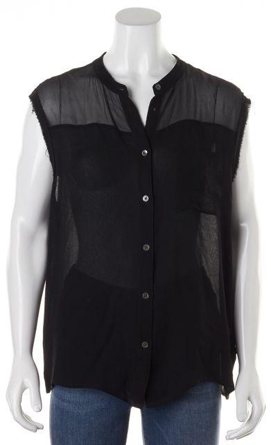 EQUIPMENT Black Silk Sleeveless Sheer Blouse Top