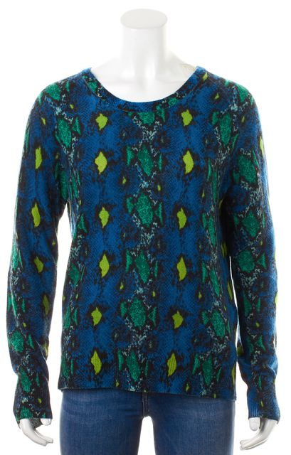 EQUIPMENT Blue Multi-Color Cashmere Snake Print Crewneck Sweater