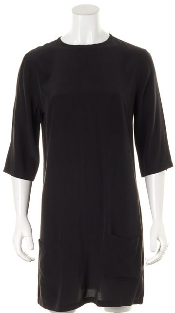EQUIPMENT Black Silk 3/4 Sleeve Pocket Front Shift Dress