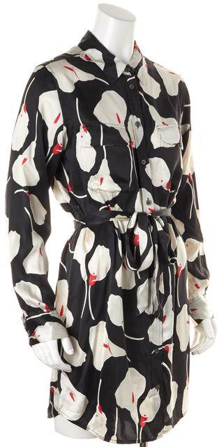 EQUIPMENT Black Red White Silk Floral Long Sleeve Waist Tie Shirt Dress