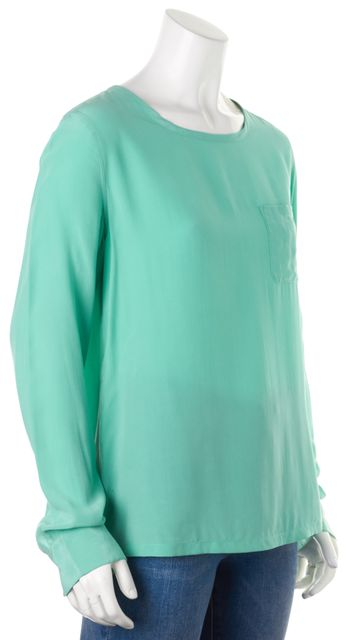 EQUIPMENT Mint Green Silk Long Sleeve Blouse