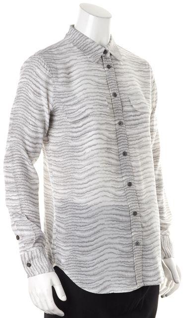 EQUIPMENT Gray White Animal Printed Silk Button Down Shirt Blouse