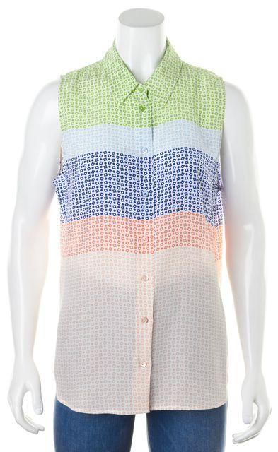 EQUIPMENT Multi-Color Silk Geometric Sleeveless Button Down Shirt