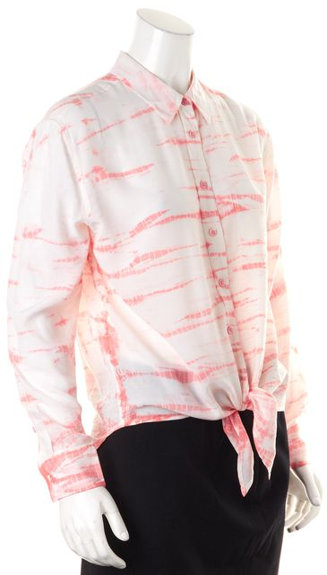 EQUIPMENT Pink White Tie Dyed Silk Button Down Tie-Front Blouse