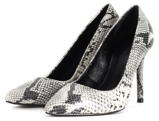 EQUIPMENT White Leather Snake Skin Embossed Pointed Toe Pump Heels