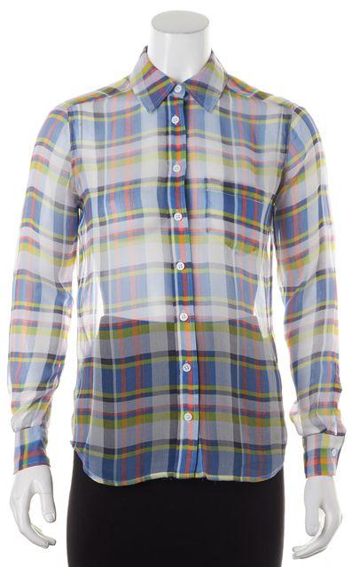EQUIPMENT Blue Green Plaid Silk Sheer Button Down Shirt Blouse