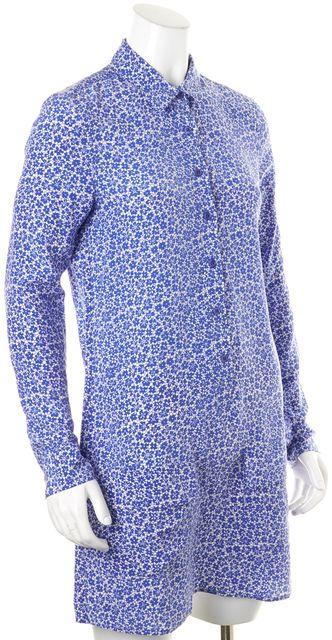 EQUIPMENT Blue White Silk Floral Silk Above Knee Shirt Dress