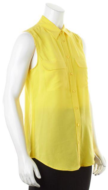 EQUIPMENT Neon Yellow Silk Sleeveless Button Down Shirt