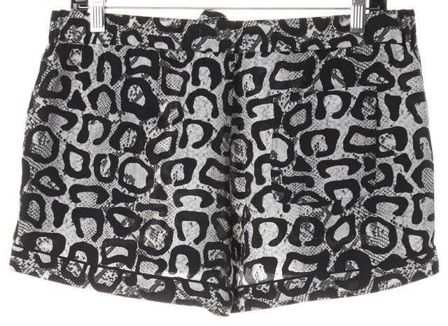 EQUIPMENT Black White Leopard Print Silk Drawstring Shorts