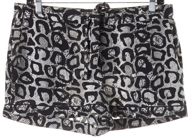 EQUIPMENT Black White Leopard Print Silk Drawstring Shorts
