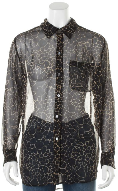 EQUIPMENT Black Beige Sheer Abstract Printed Button Down Blouse