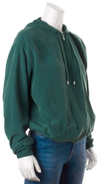 EQUIPMENT Emerald Green Silk Hooded Zip-Up Blouson Jacket