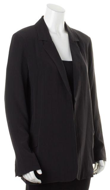 EQUIPMENT Black Silk Blouson Open Mitchell Blazer