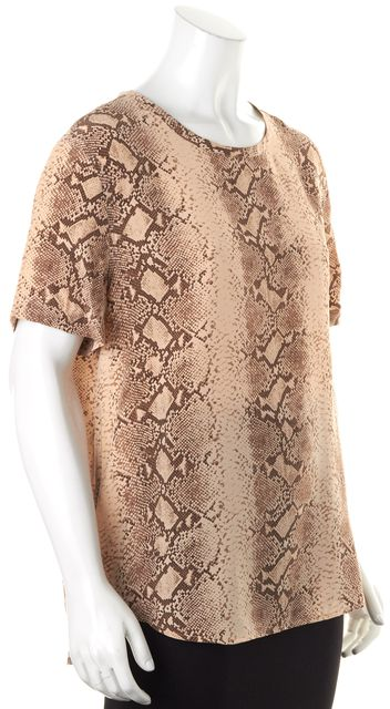 EQUIPMENT Beige Snake Print Silk Short Sleeve Blouse Top