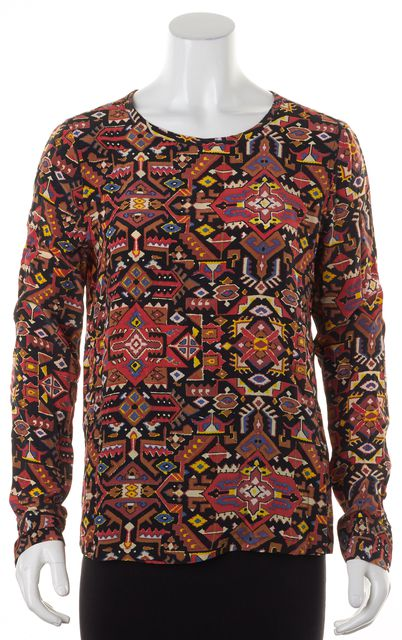 EQUIPMENT Black Red Yellow Abstract Silk Long Sleeve Blouse Top