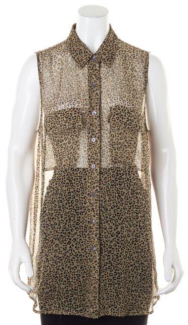 EQUIPMENT Brown Yellow Leopard Sleeveless Sheer Button Down Shirt