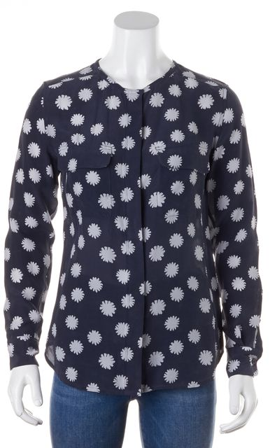 EQUIPMENT Navy Blue White Silk Floral Printed Button Down Blouse Top