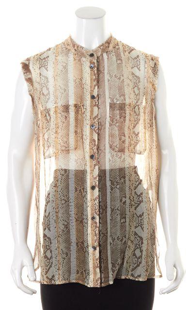 EQUIPMENT Beige Snake Print Sheer Silk Sleeveless Button Down Shirt
