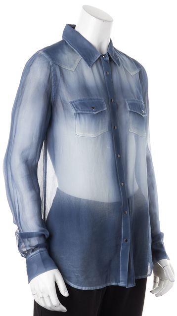 EQUIPMENT Blue Ombre Silk Long Sleeve Sheer Button Up Blouse