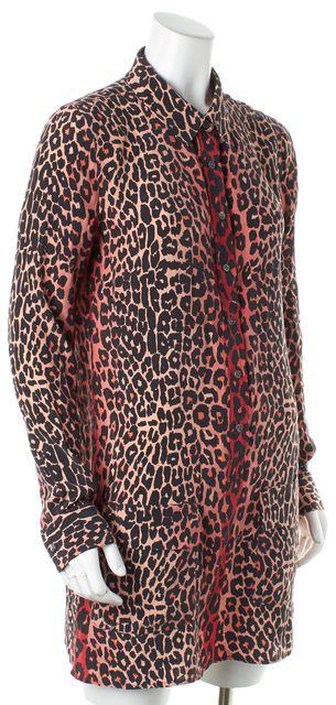 EQUIPMENT Red Pink Black Leopard Print Silk Button Down Shirt Shift Dress