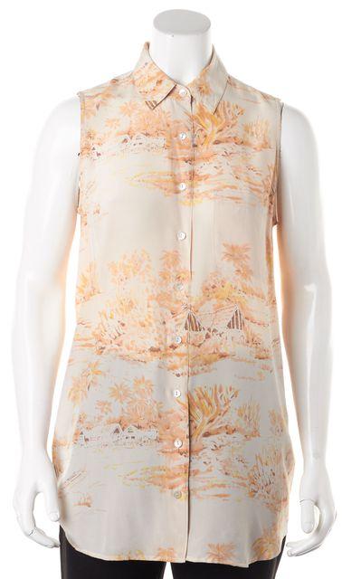 EQUIPMENT Pink Floral Hawaiian Silk Sleeveless Button Down Shirt
