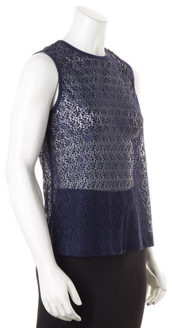 EQUIPMENT Navy Blue Lace Button Back Sleeveless Blouse Top