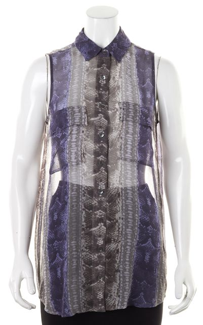 EQUIPMENT Purple Gray Snakeskin Print Silk Sheer Button Down Shirt