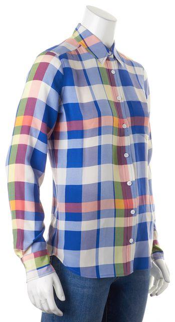 EQUIPMENT Blue Yellow Red Plaid Silk Long Sleeve Button Down Shirt
