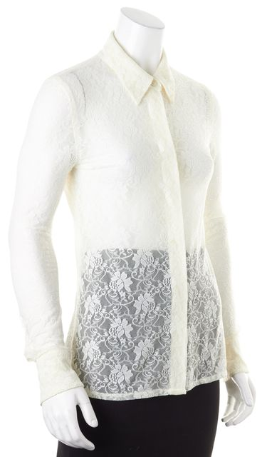 EQUIPMENT Ivory Floral Lace Long Sleeve Sheer Button Down Shirt