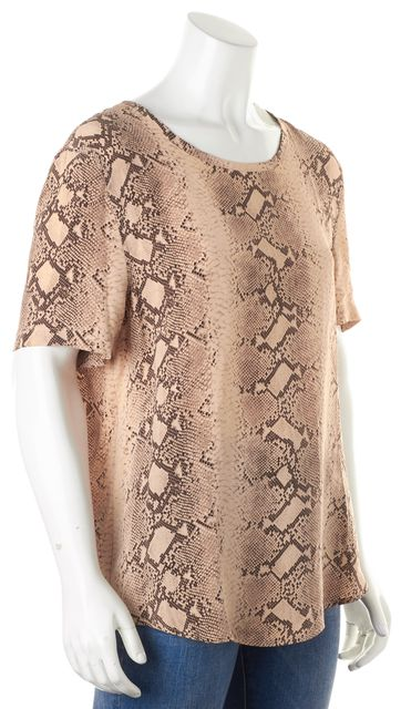 EQUIPMENT Brown Snake Print Silk Short Sleeve Blouse