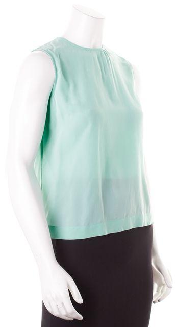 EQUIPMENT Light Sea-Foam Green Silk Sleeveless Button Down Back Blouse