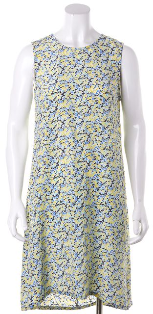 EQUIPMENT Yellow Blue Floral Silk Sleeveless Shift Dress