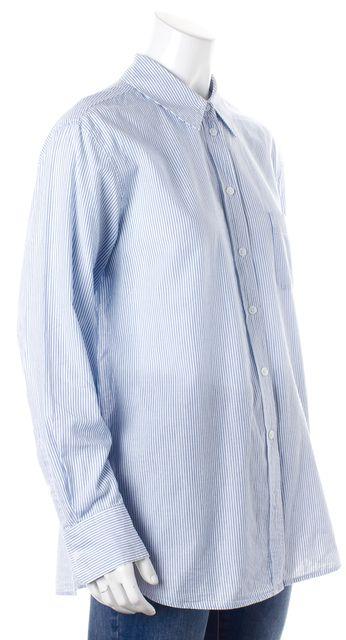 EQUIPMENT Blue White Striped Button Down Shirt Top