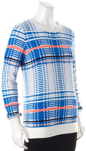 EQUIPMENT White Blue Orange Geometric Crewneck Sweater