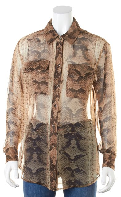 EQUIPMENT Brown Snakeskin Printed Semi Sheer Button Down Blouse