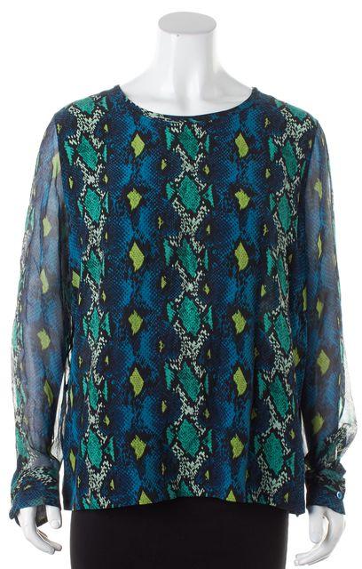 EQUIPMENT Blue Green Snakeskin Print Silk Long Sleeve Blouse Top