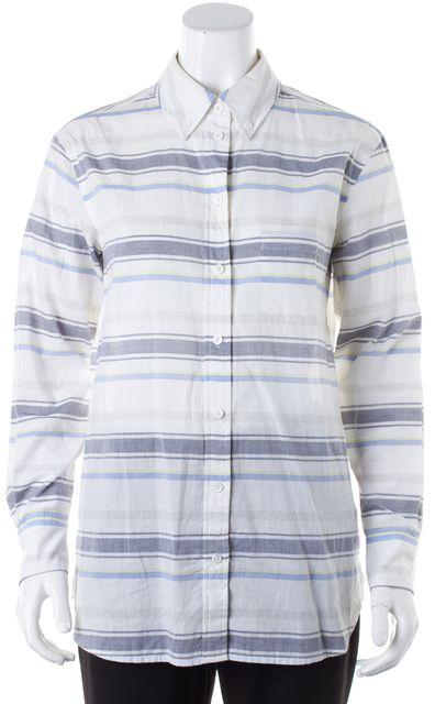 EQUIPMENT White Blue Striped Cotton Long Sleeve Button Down Shirt Top