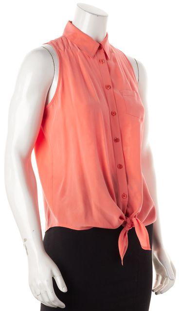EQUIPMENT Orange Silk Sleeveless Button Down Shirt Top