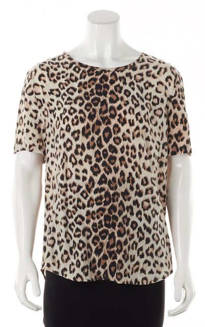 EQUIPMENT Brown Leopard Print Silk Blouse Top