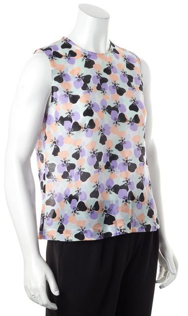 EQUIPMENT Purple Pink Black Multi-Color Sheer Floral Sleeveless Blouse Top