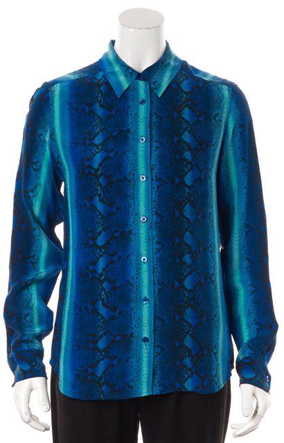 EQUIPMENT Sea Blue Aqua Blue Ombre Silk Button Down Shirt Blouse