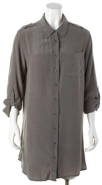 EQUIPMENT Gray Silk Roll-Up Sleeve Shirt Dress