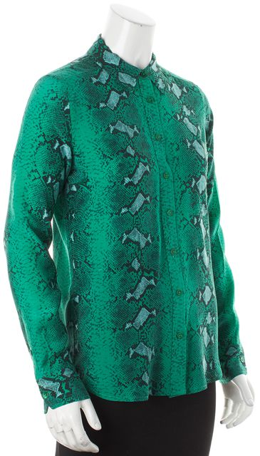 EQUIPMENT Multi-Green Abstract Silk Collared Button Down Shirt Blouse