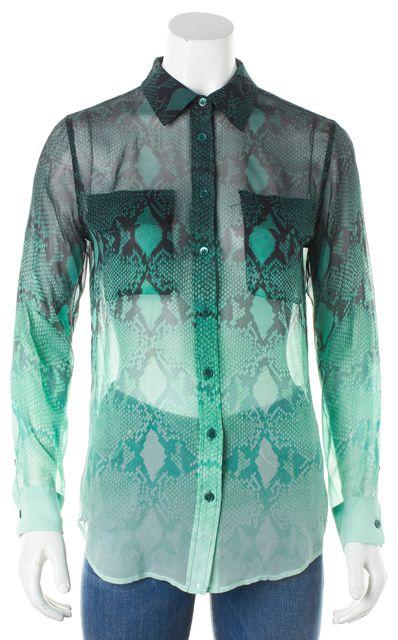 EQUIPMENT Green ombre Snake Skin Long Sleeve Silk Button Down Blouse