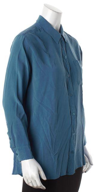 EQUIPMENT Blue Silk Button Down Shirt Blouse