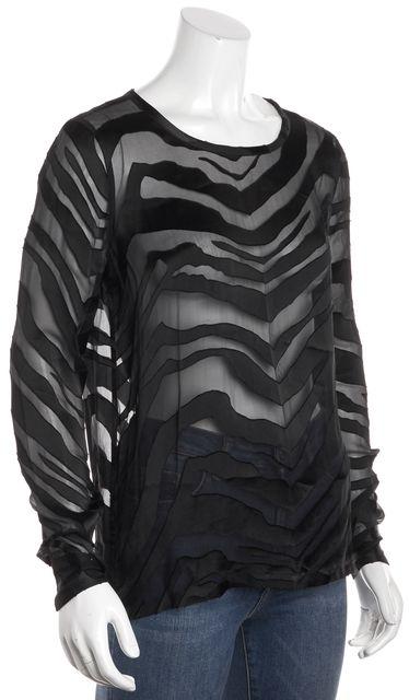 EQUIPMENT Black Semi-Sheer Zebra Print Long Sleeve Blouse